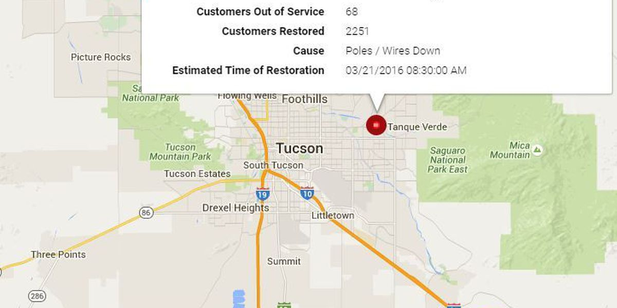 Downed Power Lines Poles Cause Outage On Tucson S Ne Side