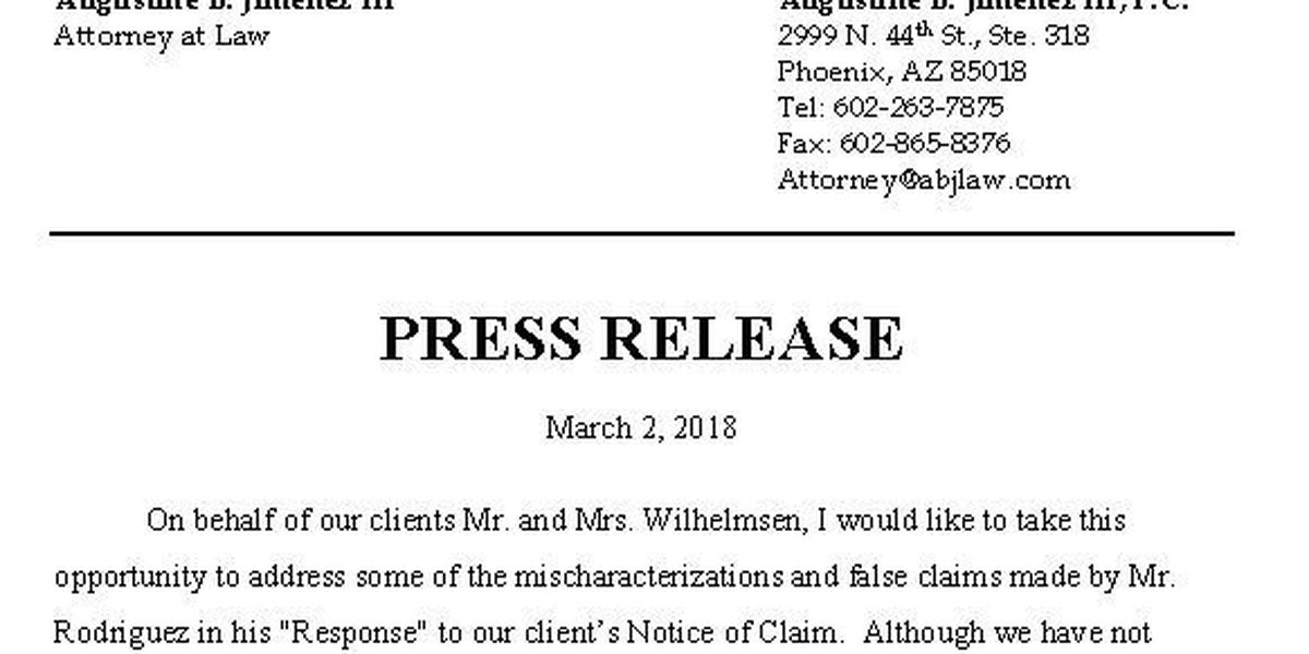 Response from Wilhelmsen lawyer on extortion, other claims from Rich Rodriguez