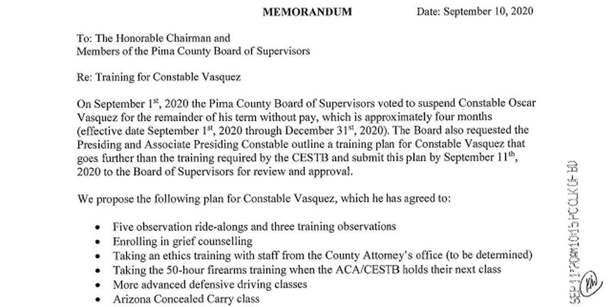 Pima County to vote on proposed training for constable on unpaid suspension
