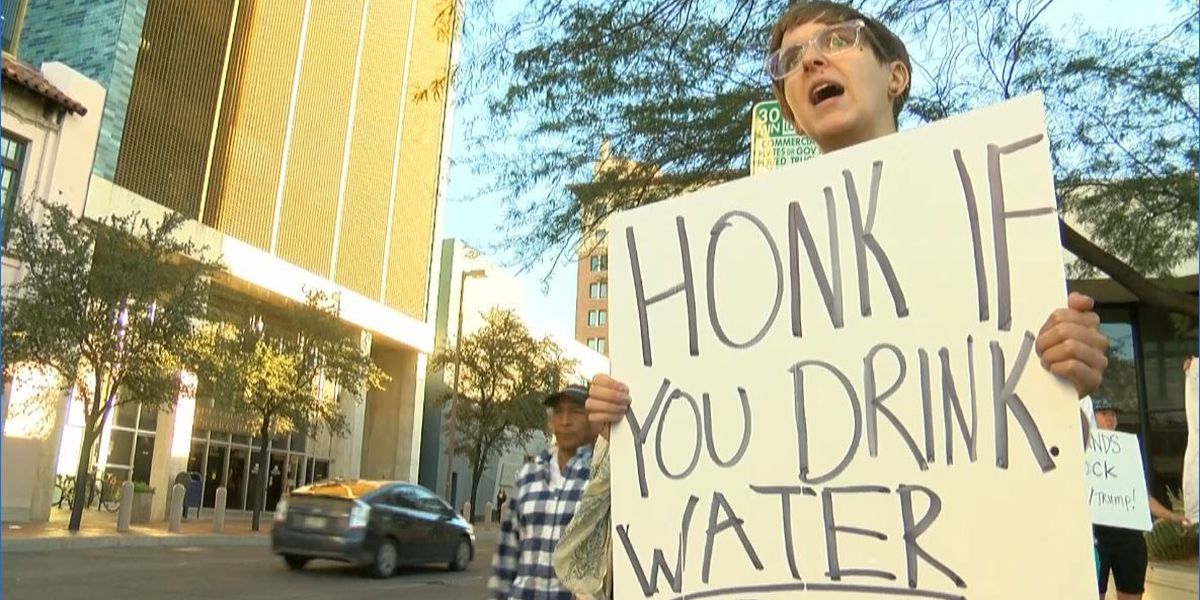 WATCH: Protesters in downtown Tucson oppose pipeline, Trump