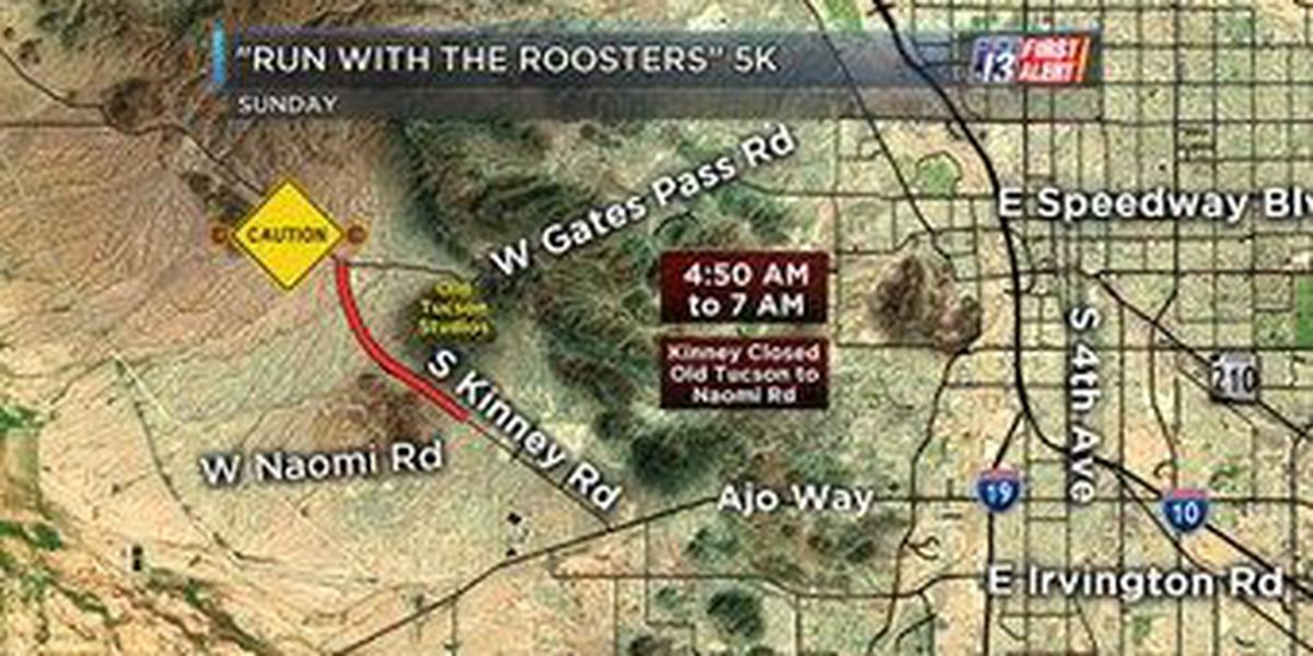 "Kinney Road closes Sunday for ""Run With the Roosters"" 5k"