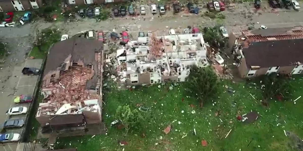 Aerial: Missouri's capital damaged by storm