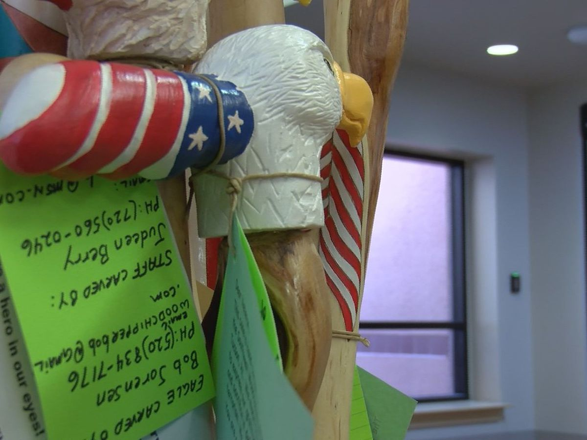 Wood whittling groups donate creations to veterans
