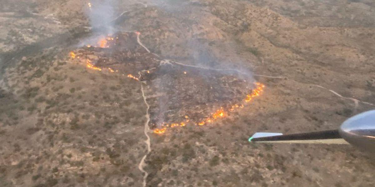 Wildfire burning near Redington Pass