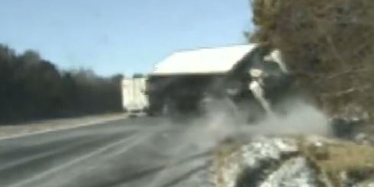 Dramatic Video: Box truck overturns, narrowly missing woman and 2 Illinois Troopers