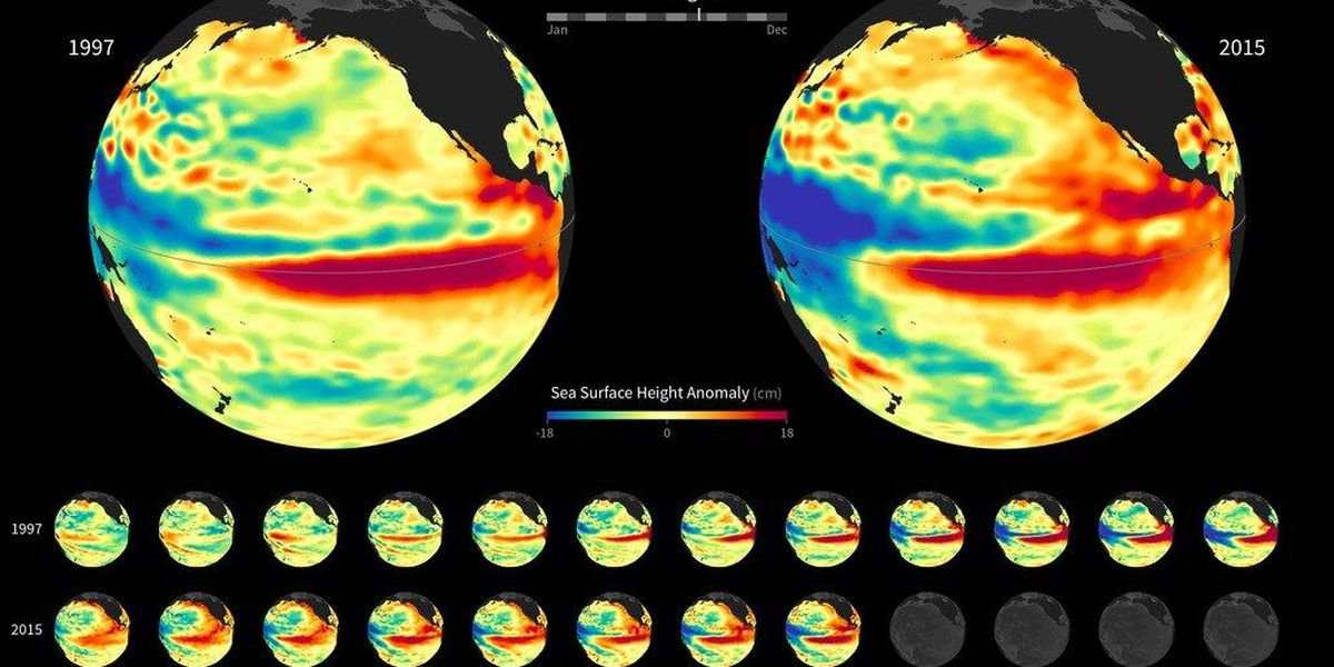 Strong El Niños compared side-by-side