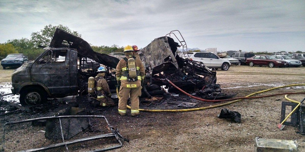 Dog dies when two RVs burn