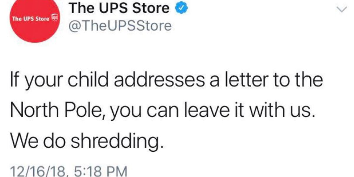 UPS Store in hot water over offer to shred kids' letters to Santa