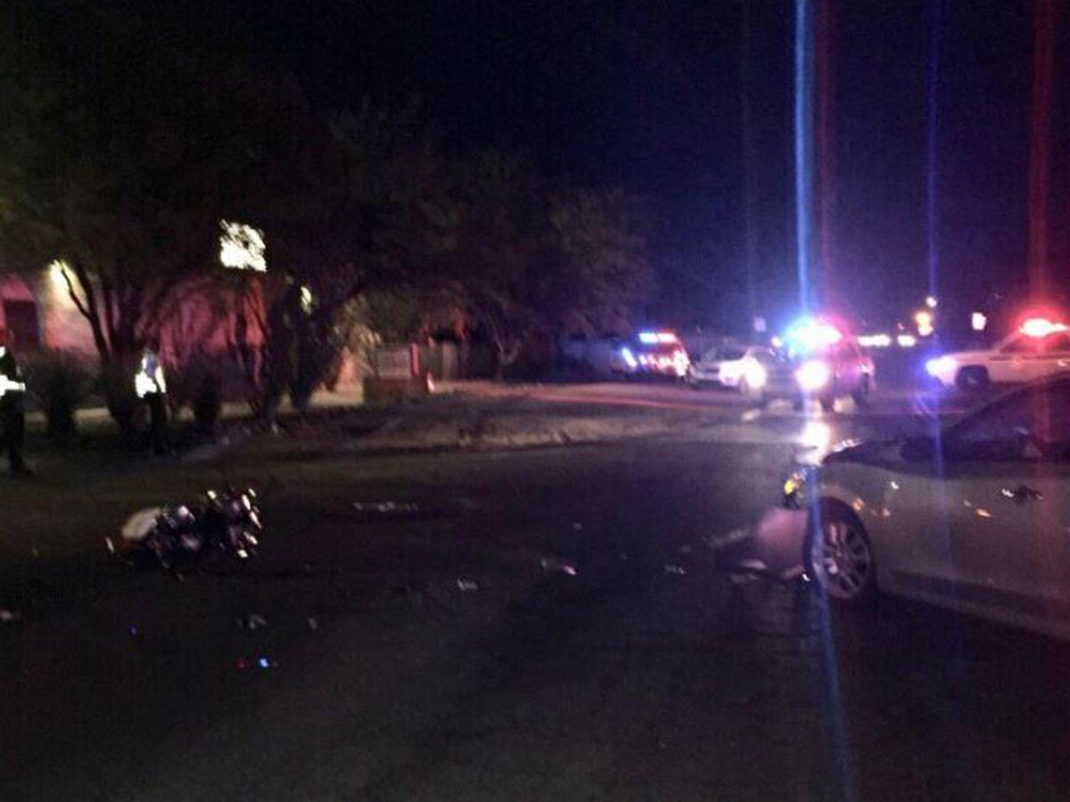 Serious injury crash involving motorcycle, passenger car