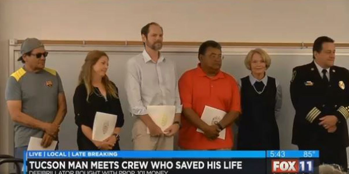 Cardiac arrest survivor thanks heroes who saved his life