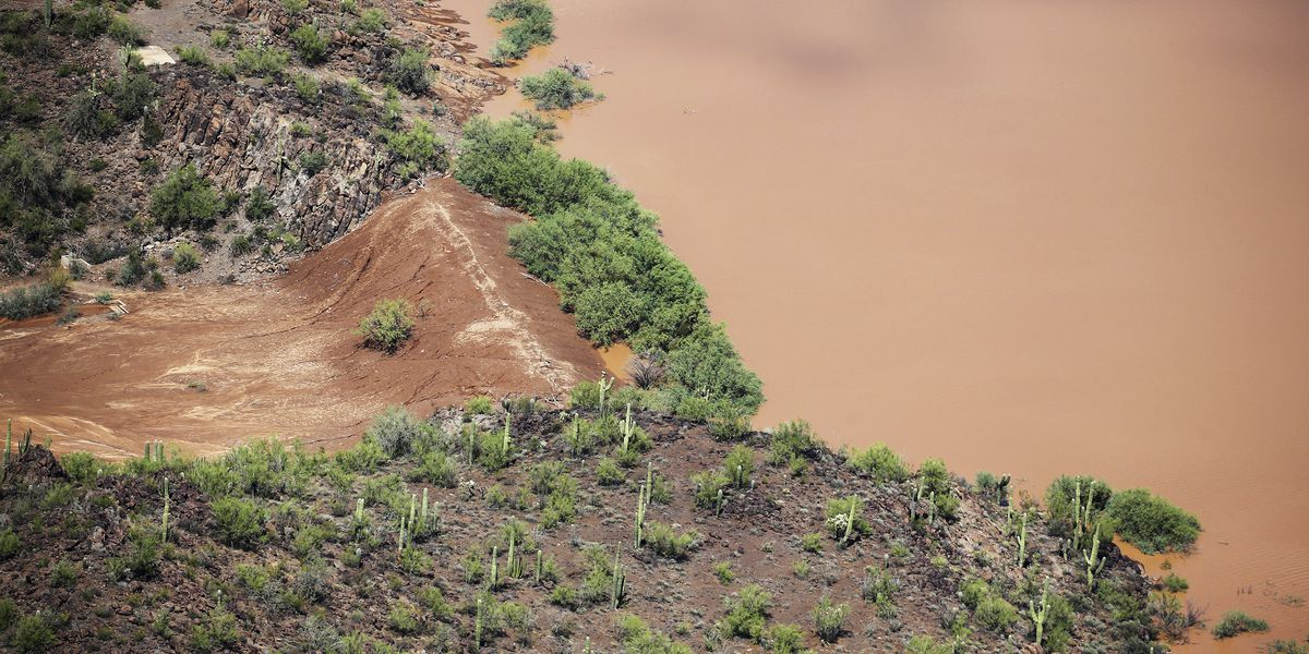 southern arizona dam holding as water recedes