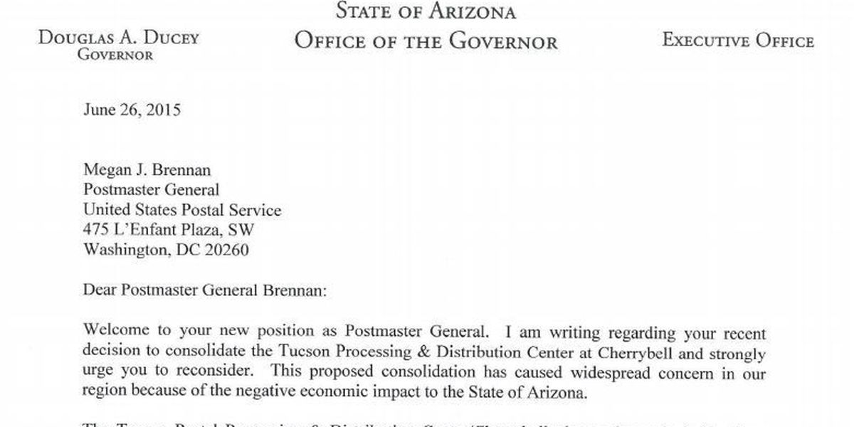 Ducey makes plea for Tucson's main post office