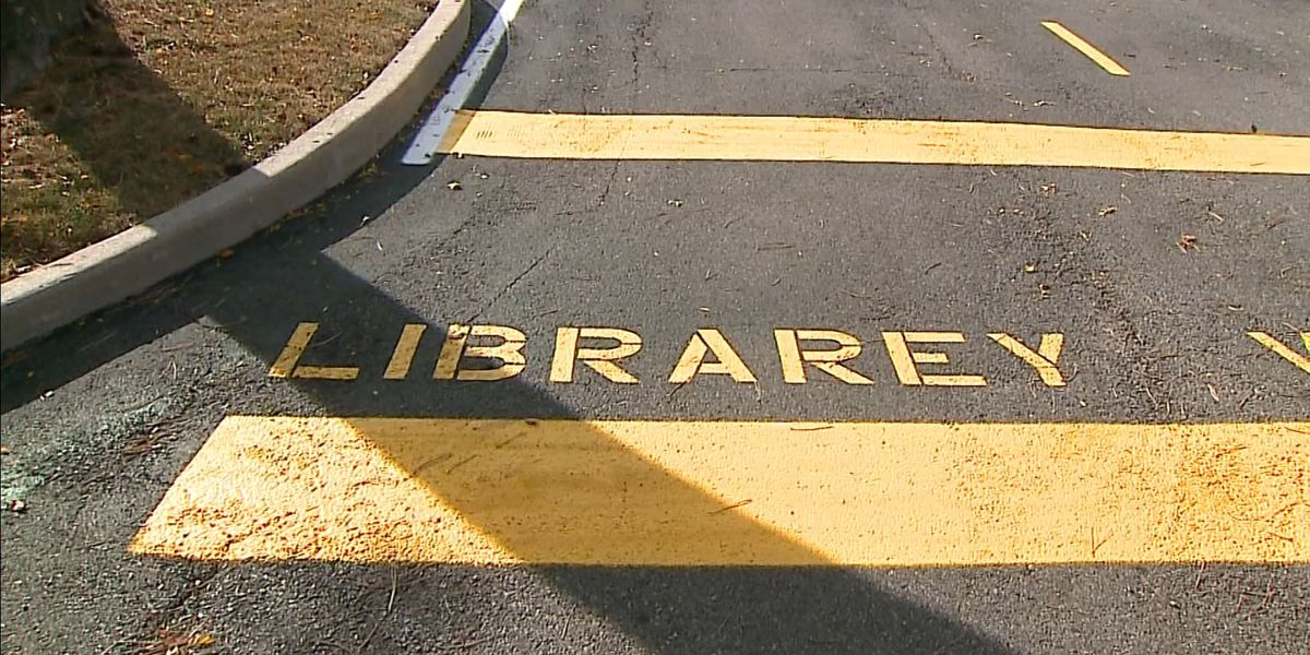 Library misspelled in Indiana library parking lot