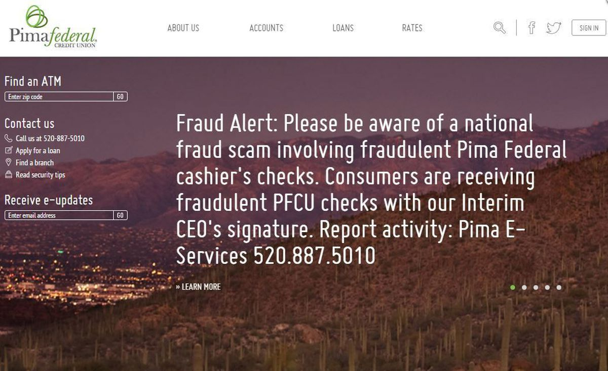 pima federal credit union warning of latest check scam