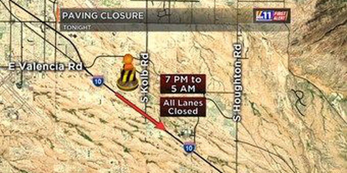 Paving operations close SE portion of I-10 overnight
