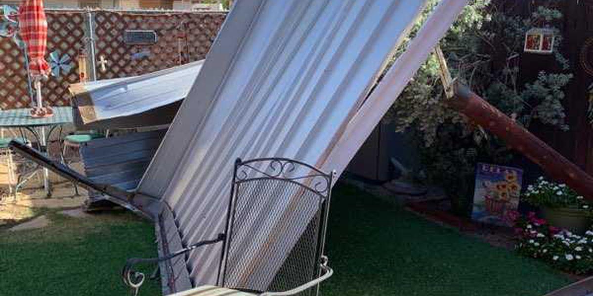 Strong winds destroy backyard awning on southeast-side