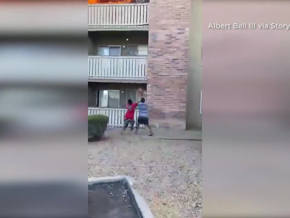 CAUGHT ON CAMERA: Retired Marine catches toddler falling from burning apartment in Phoenix