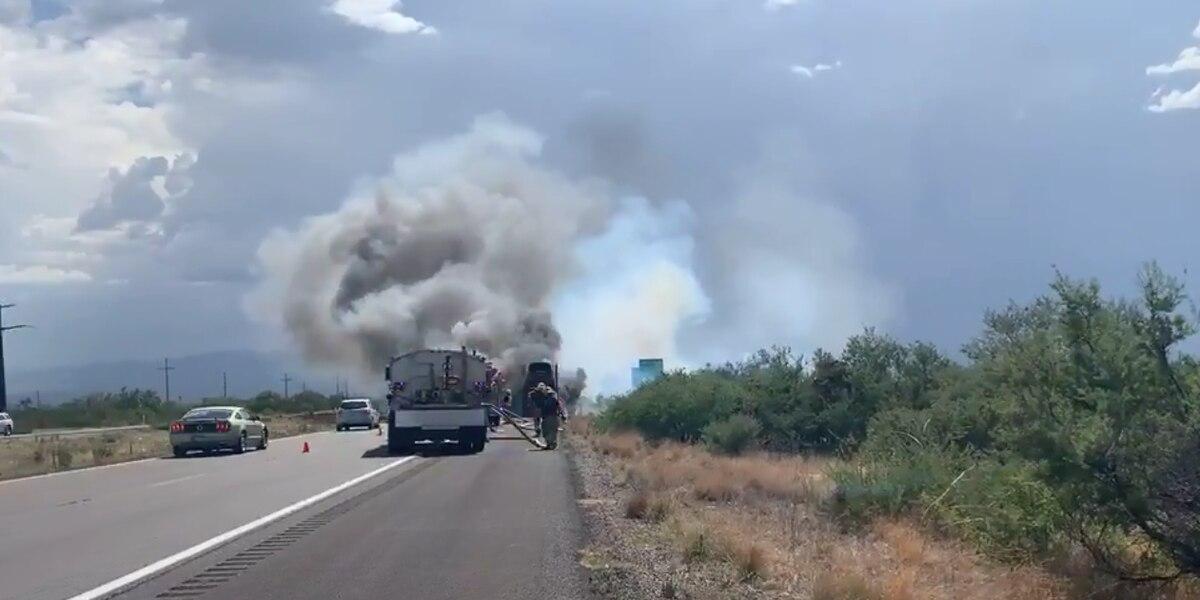 Semi truck catches fire along I-10, east of Benson