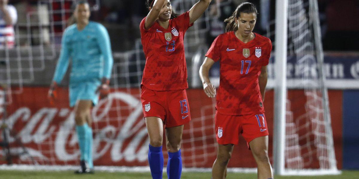 Pugh scores 2 and US women beat Australia 5-3 in friendly