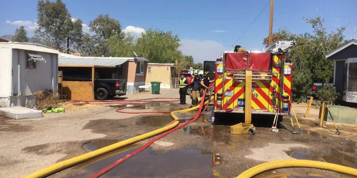 Mobile home heavily damaged by flames northwest of Tucson