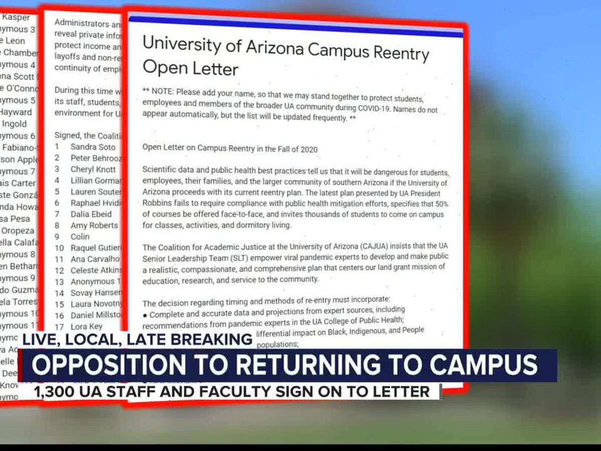 The University of Arizona's re-entry plan to open campus receives pushback