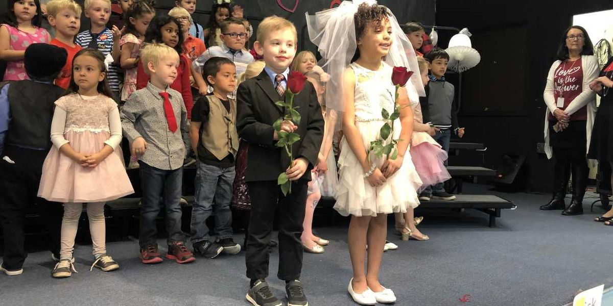 Mesa Verde kindergartners marry the letters 'Q' and 'U' for V-Day