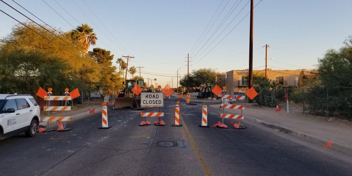 Water main repairs causing road restrictions in Tucson