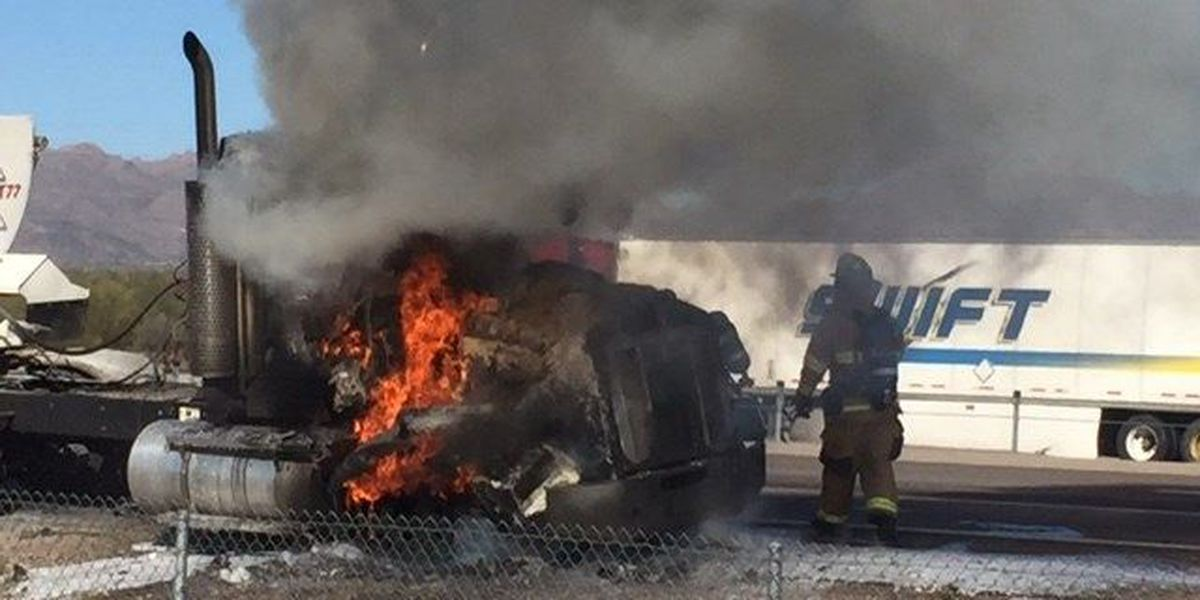 Truck catches fire on I-10 near Twin Peaks exit
