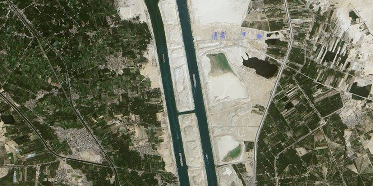 Upgraded Suez Canal seen from space