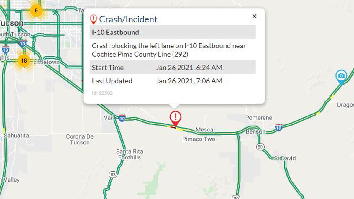 Serious crash reported on eastbound I-10 near Mescal