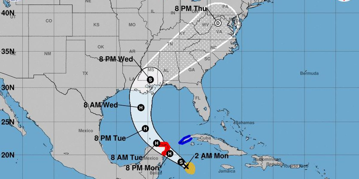 Zeta will likely be hurricane before hitting Yucatan, heading for US