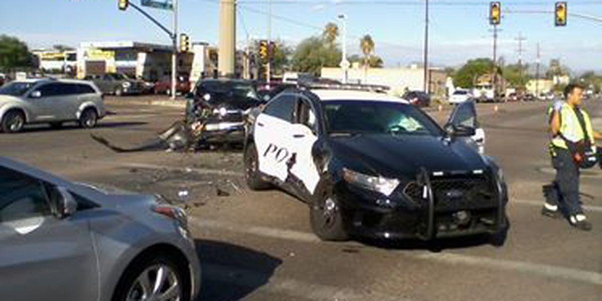 Tucson police officer taken to hospital after crash