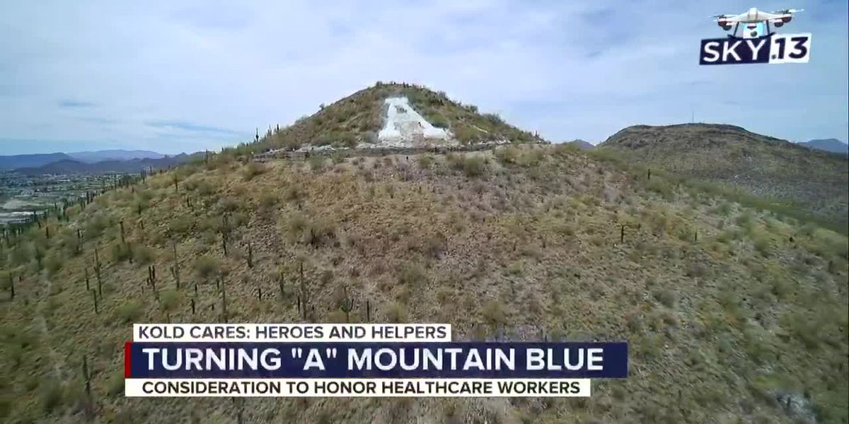 'A' Mountain turning blue to show support for healthcare workers