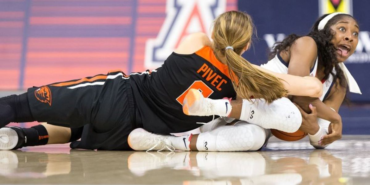 No. 9 Oregon State women outlast Wildcats 65-60 in 2 OTs
