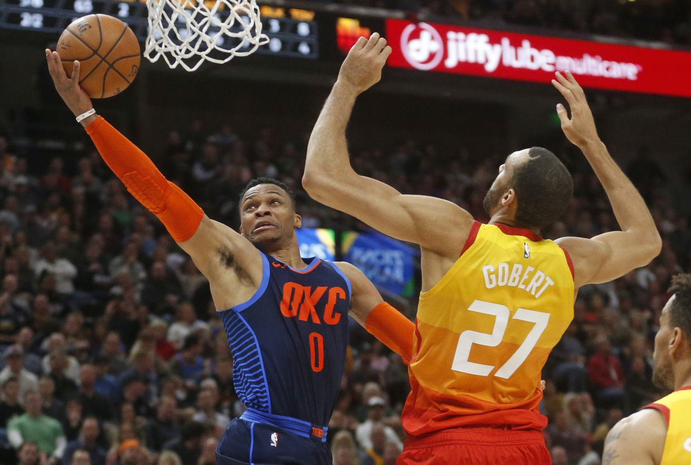big sale 7abab ff668 Oklahoma City Thunder guard Russell Westbrook (0) lays the ball up as Utah  Jazz
