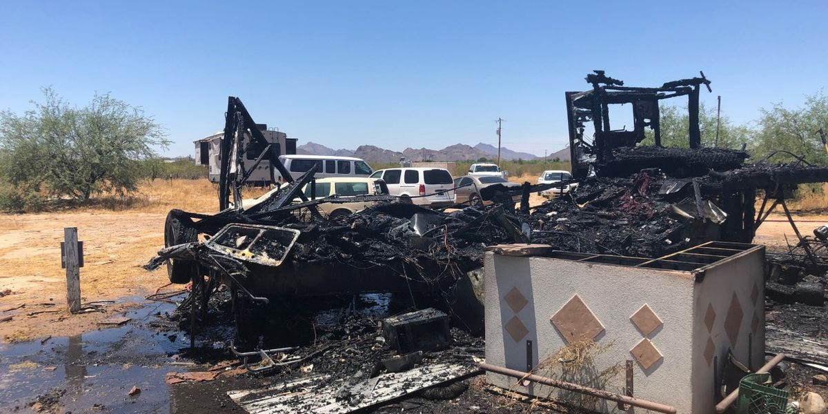 Travel trailer catches fire in Avra Valley