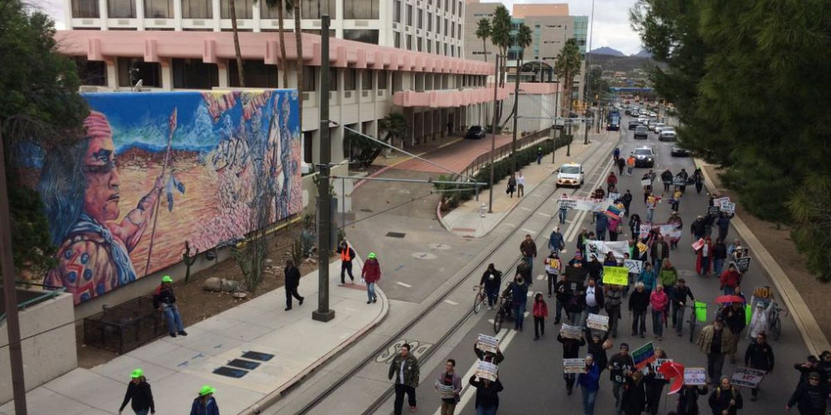 Protesters march through downtown Tucson