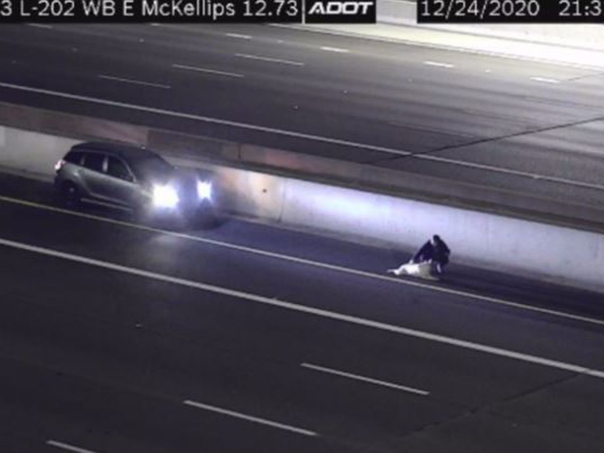 Woman helps injured dog on Loop 202 in Mesa