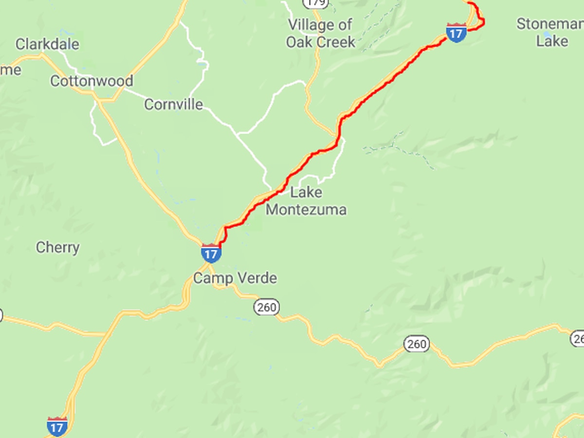 I-17 northbound closed north of Camp Verde
