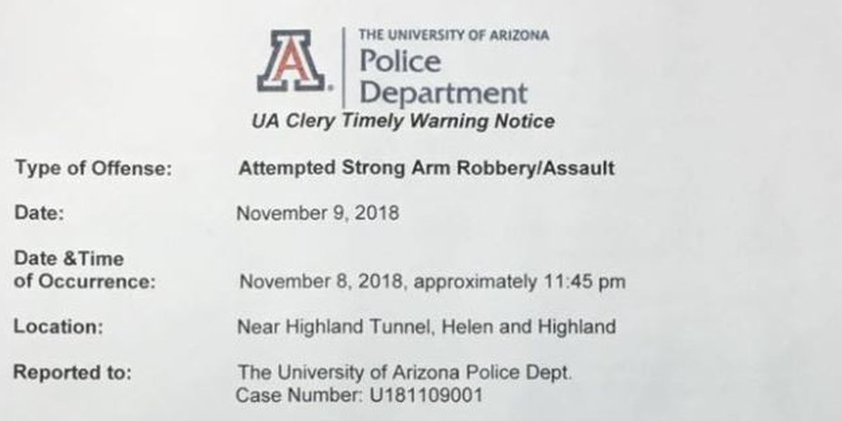 UA police investigating possible assault, attempted robbery