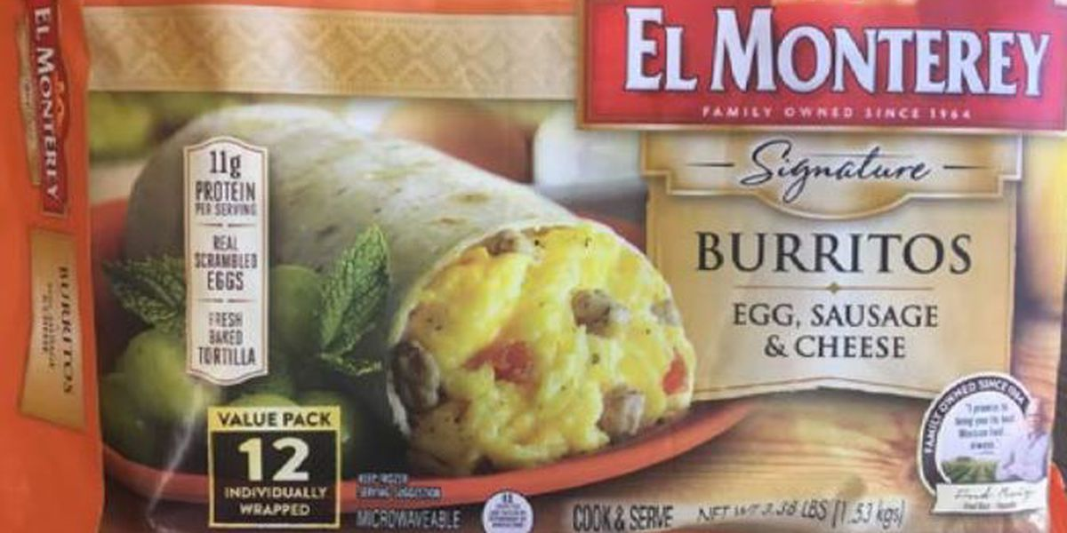El Monterey frozen sausage breakfast burrito products recalled
