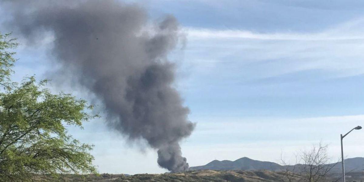 Recycling plant near international border on fire