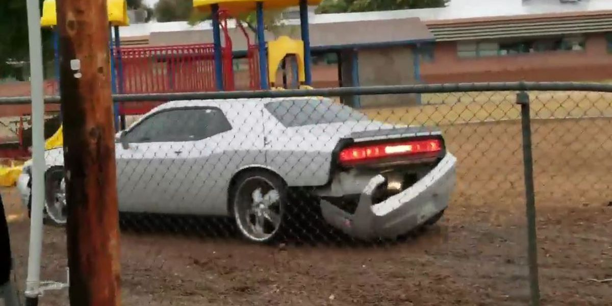 TUSD asks for help finding car that crashed into playground