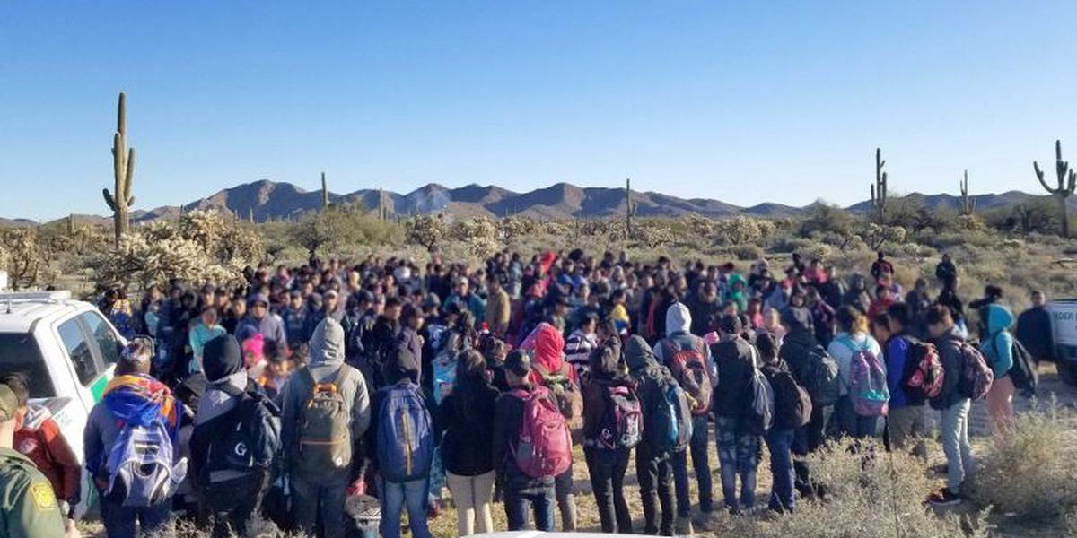 Group of 325 Central Americans surrendered to BP agents west of Lukeville