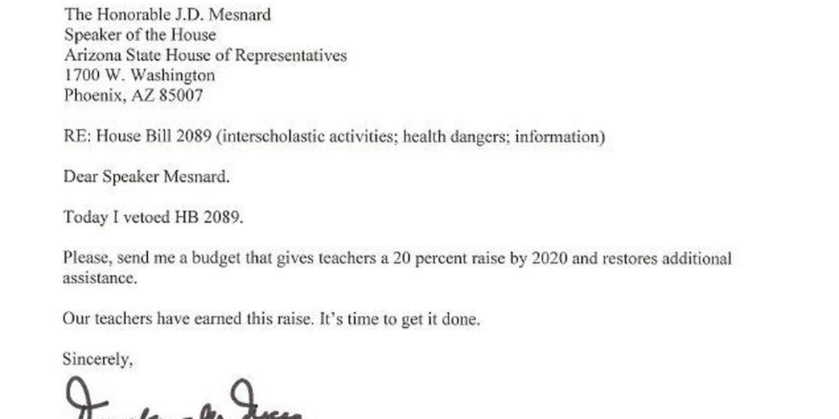 Gov. Ducey vetoes 10 bills, wants teacher pay hike