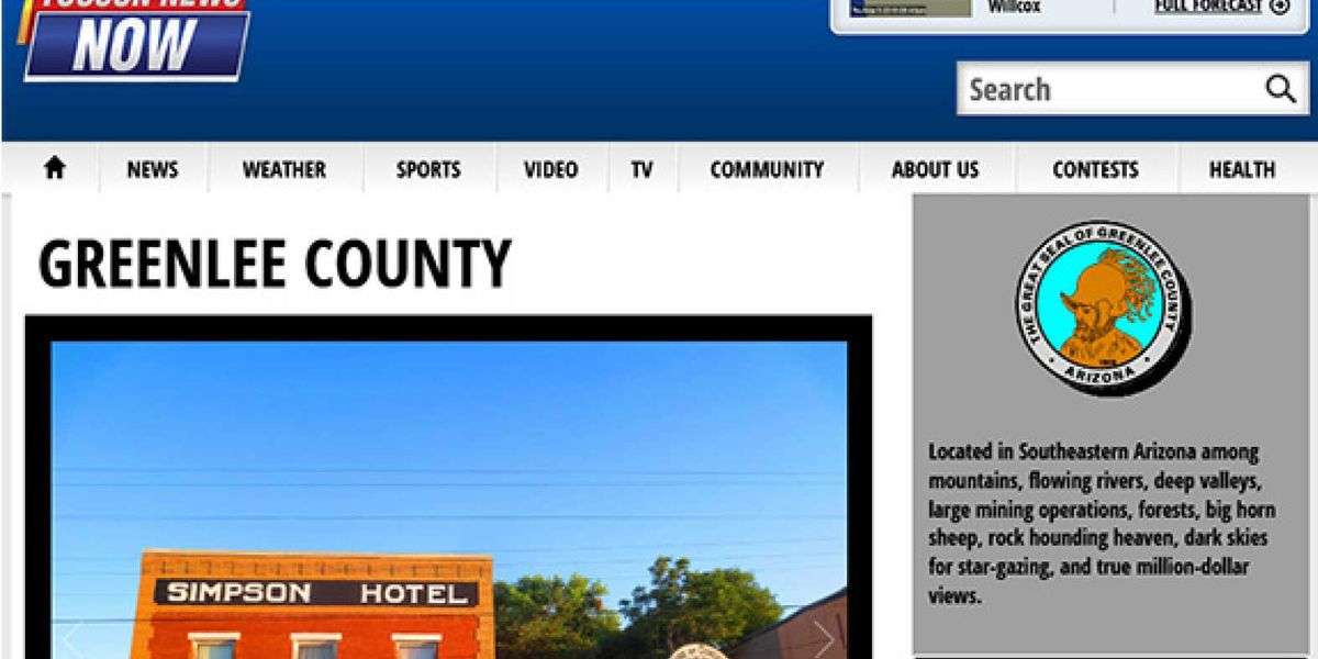 Greenlee County's 'landing page'