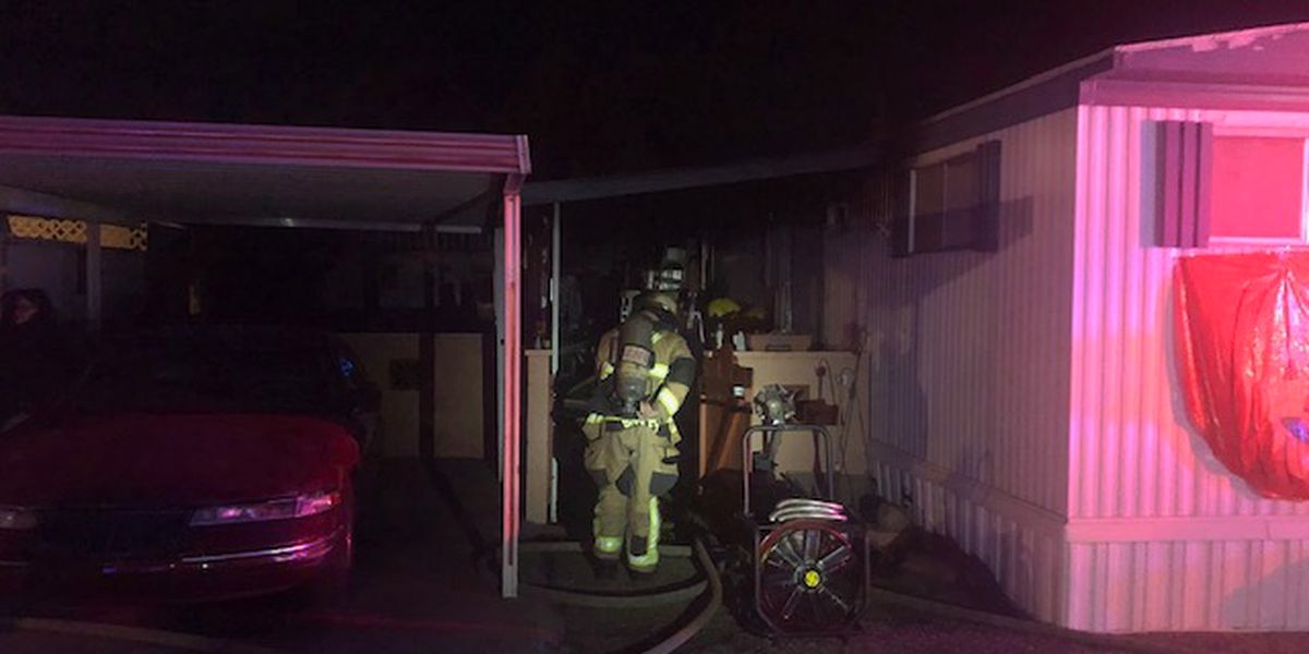 Tucson Fire Department tackles mobile home fire