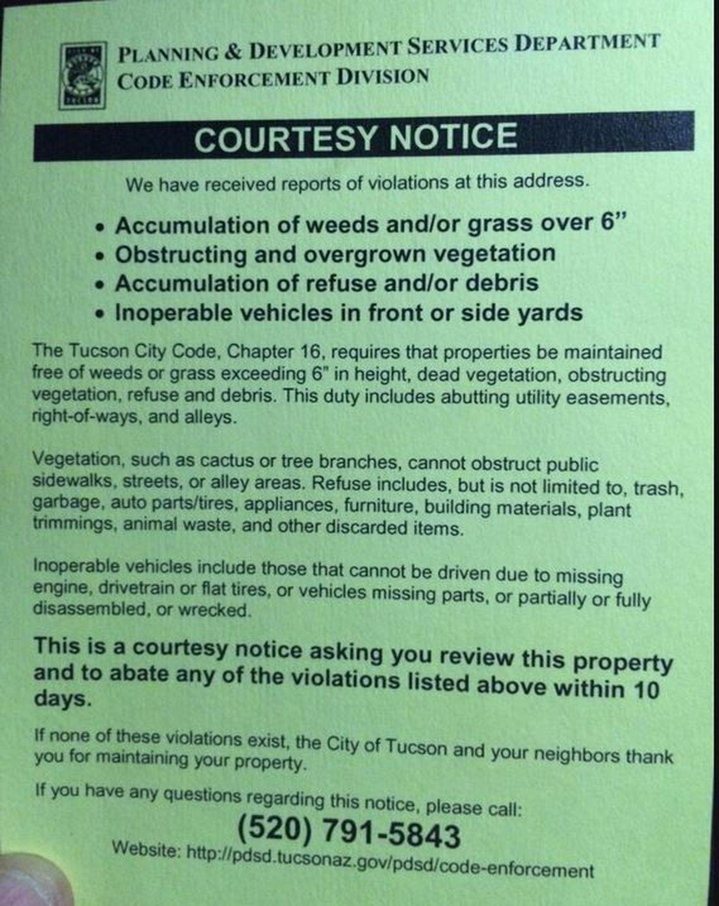 Tucson introduces a new code enforcement program