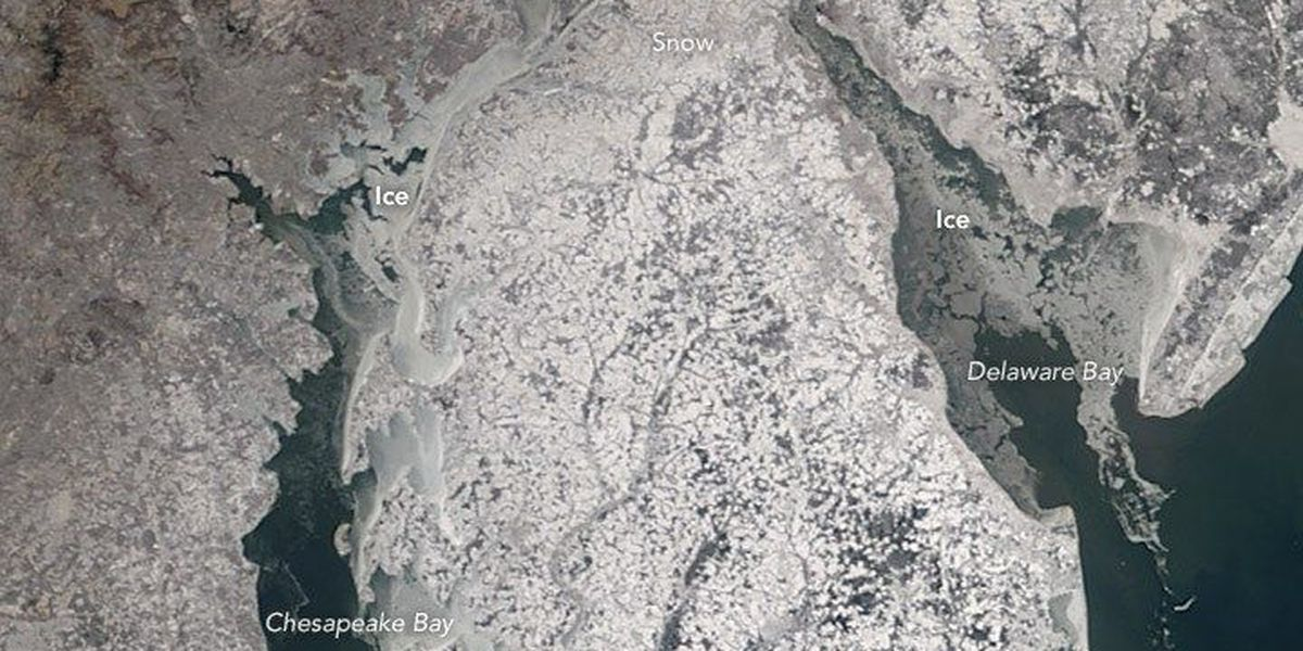 NASA satellite images show frozen east coast