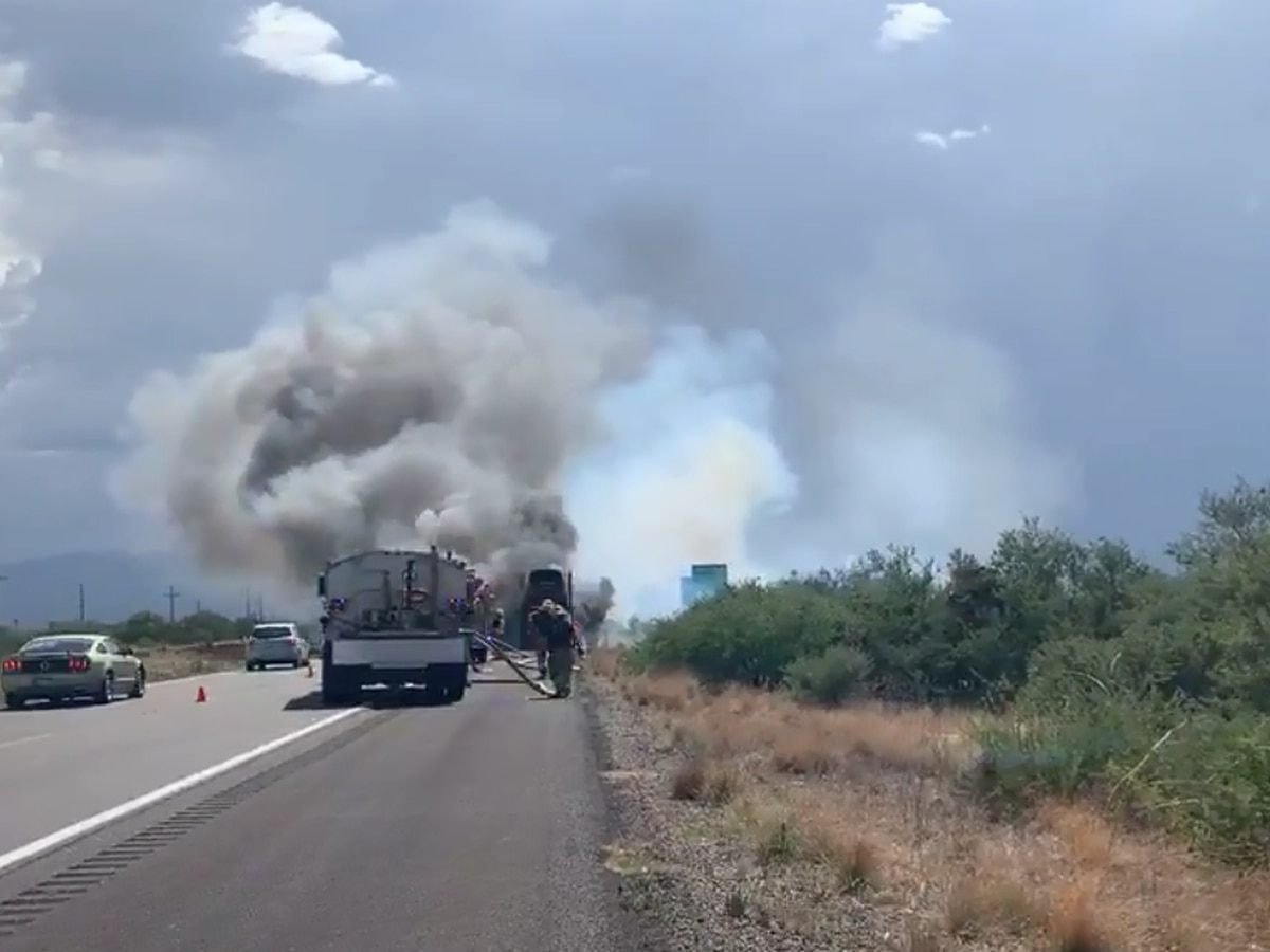 Semi truck catches fire along I-10, east of Benson